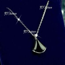 925 silver made with Swarovski crystal black onyx pendant chain necklace fan
