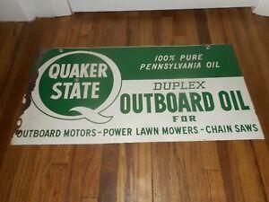 Vintage ORIGINAL DST QUAKER STATE DUPLEX OUTBOARD MOTOR OIL ADVERTISING SIGN