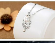 Sterling Silver Cubic Zirconia Freshwater Pearl Peacock Pendant Necklace Gift PE