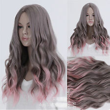 LOLITA purple Gray Pink Hair Cosplay Party Wig Wavy Curly Full Long women's Wigs