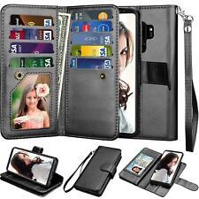 Samsung Galaxy S9 Plus Wallet Case PU Leather Detachable Card Slots Black NEW