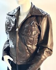 Vintage AMF Harley Davidson Leather Motorcycle Jacket Brown Size 36 Small