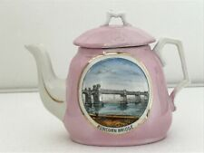 Vintage style Pink tea pot with image of the Runcorn bridge