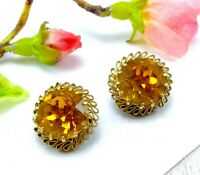 Vintage Gold Tone Metal & Golden Orange Yellow Glass Clip On Earrings