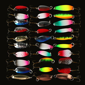 30pcs Spinner Fishing Bait Spoon Lure Silver Gold Colorful Catfish Bass Lures