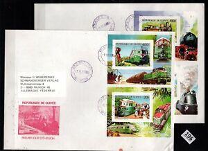 /// GUINEA 1986 - 2 FDC - TRAINS, LOCOMOTIVES