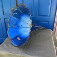 Antique Phonograph Horn Blue Morning Glory for Cylinder Player Edison 1900s