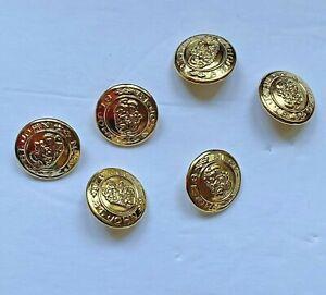 Vintage St John Buttons Gold Tone Logo Double Lion Lot of 6