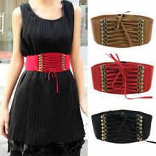 Gothic Wide Waist Belt Vintage Lace Up Strap Elastic Band Punk Dress Corset Red