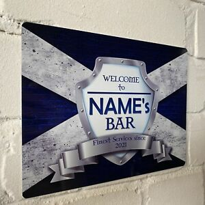 Personalised Scotland Scotish Flag Sign Metal Sign A4 - A5 size Bar Add Name