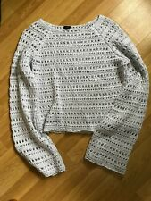 River Island Grey Crochet Effect Cropped Jumper Sz 16