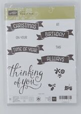 Stampin' UP RETIRED TIME OF YEAR photopolymer, Flag sentiments birthday