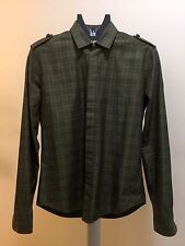 Burberry Olive Green Modern Nude Plaid Cotton Cadet Shirt 15.5 39 M