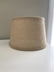 Tan Burlap 10 Inch Diameter Drum Lampshade Farmhouse Decor