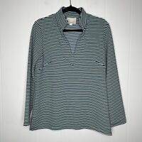 Sail To Sable STS Women's Striped V Neck Top Teal Blue Size M