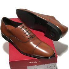 NEW Ferragamo REMIGIO Brown Leather Fashion Cap-toe Oxford Men's Dress Shoes