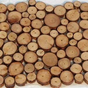 100pcs Natural Pine Wood Slices Round Disc Tree Bark Decor J6W5 Craft Chips C8F6
