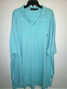 Mens Polo Ralph Lauren Short Sleeve Teal Polo Shirt Size 4XB Big 4XL