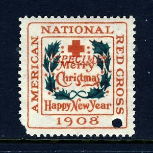 1908 USA Christmas Seal Type 2 SPECIMEN OVPT. (WX4) . Mint Hinged, corner
