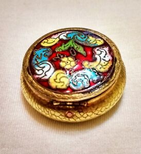 Antique copper mini cosmetic powder. France the end of the 19th century