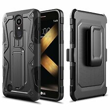 LG K20 Plus / K20 V Case, Armor Hybrid Belt Clip Case with Kickstand - Black