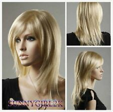 NEW Fashion Women lady Long Straight Blonde Cosplay party lady's wigs