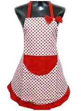 Kitchen Cooking Apron with Red Polka Dots, Cute bow, pocket & Red frilly edges.