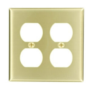 Leviton 2-Gang Receptacle Satin Brass Wallplate Cover 81016 NEW Standard Size