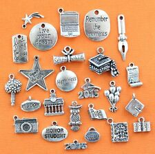 Graduation 2015 Deluxe Charm Collection 25 Silver Tone Charms FREE Shipping E66