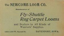Business Card The Newcomb Loom Co, Fly-Shuttle & Rag Carpet Looms, Davenport IA