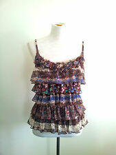 Elly M size 8 frilled lined polyester floral cami with adjustable straps