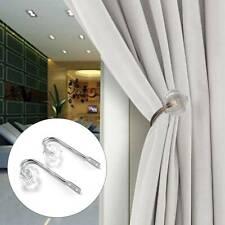 1 Pair Crystal Home Curtain Holdbacks Wall Tie Backs Metal Hooks Hanger Holder