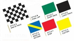 RACE TRACK FLAGS - NASCAR Official Full Size Hand Held Racing Flags on 4 Ft Pole