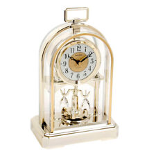 RHYTHM Beautiful Gold Colour Arch Dome Pendulum Anniversary Mantel Clock Gift