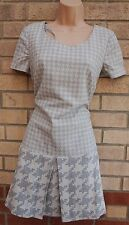 NEXT TAILORED GREY WHITE DOG TOOTH CHECK A LINE SKATER FORMAL WORK DRESS 12 M
