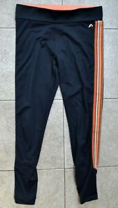 F&F Black with Side Stripes Full Length Sports Leggings Size M or UK 12