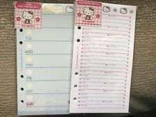 Lot 2 Packs- Hello Kitty Weekly Agenda + Phone Refill Paper, A6, Fits LV MM, NEW