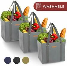 Reusable WASHABLE Grocery Shopping Cart Trolley Bags- Long Handles, Durable Tote