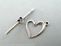 40Sets Wholesale Lots W09 Silver Tone Love Heart Toggle Clasps 13x17mm
