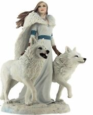 """Anne Stokes """"Winter Guardians"""" Wolf Maiden Statue New In Box"""
