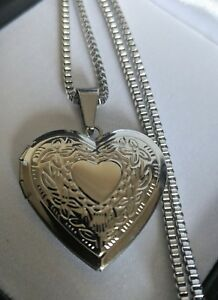 Ladies Small Vintage Heart Locket Silver Steel Necklace, Gift For Mum / Nan
