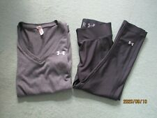 UNDER ARMOUR HEAT GEAR Size XS Black Fitness/Gym Cropped Leggings & Top