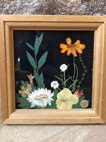 """Vintage Framed Pressed Flowers Art Mini 4"""""""