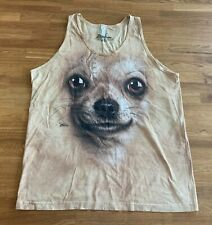 American Apparel Men's Tie Dye Perry Dog Graphic Tank Top, Tan Size Large - NWOT