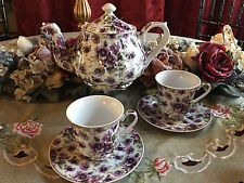 Purple Pansy Tea Set: 6 Cup Porcelain Tea Pot and 2 Adult Size Cups and Saucers
