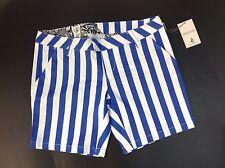 NEW VOLCOM Stripe Shorts Size 3 Blue White Stretch Straight Leg Zip Walk Pants