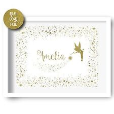 Gold Foil Print Personalised Nursery Decor Tinkerbell Print Fairy Print Wall Art