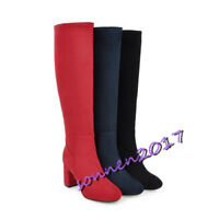 Ladies Three Colors Simple Knee High Boots Block Heel Casual Shoes Autumn Size