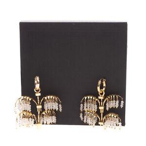 RRP €200 ELLERY Medium Palm Chandelier Earrings Beads Fringe Snap Closure