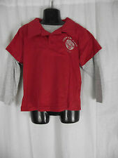 BNWT Boys Sz 4 Rivers Doghouse Brand Red/Grey Layered Long Sleeve Polo Top